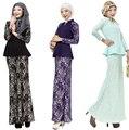 2016 roupas mulheres Turcas musulmane Dois-peça de roupas de Moda terno muçulmano vestido islâmico muçulmano vestidos de renda giyim vestuário árabe