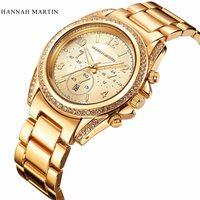 2017 Mulheres de Luxo Relógios de Ouro Diamante Display Analógico de Aço Inoxidável Elegante Relógio de Quartzo Vida Bom Presente Senhora Relógio À Prova D' Água