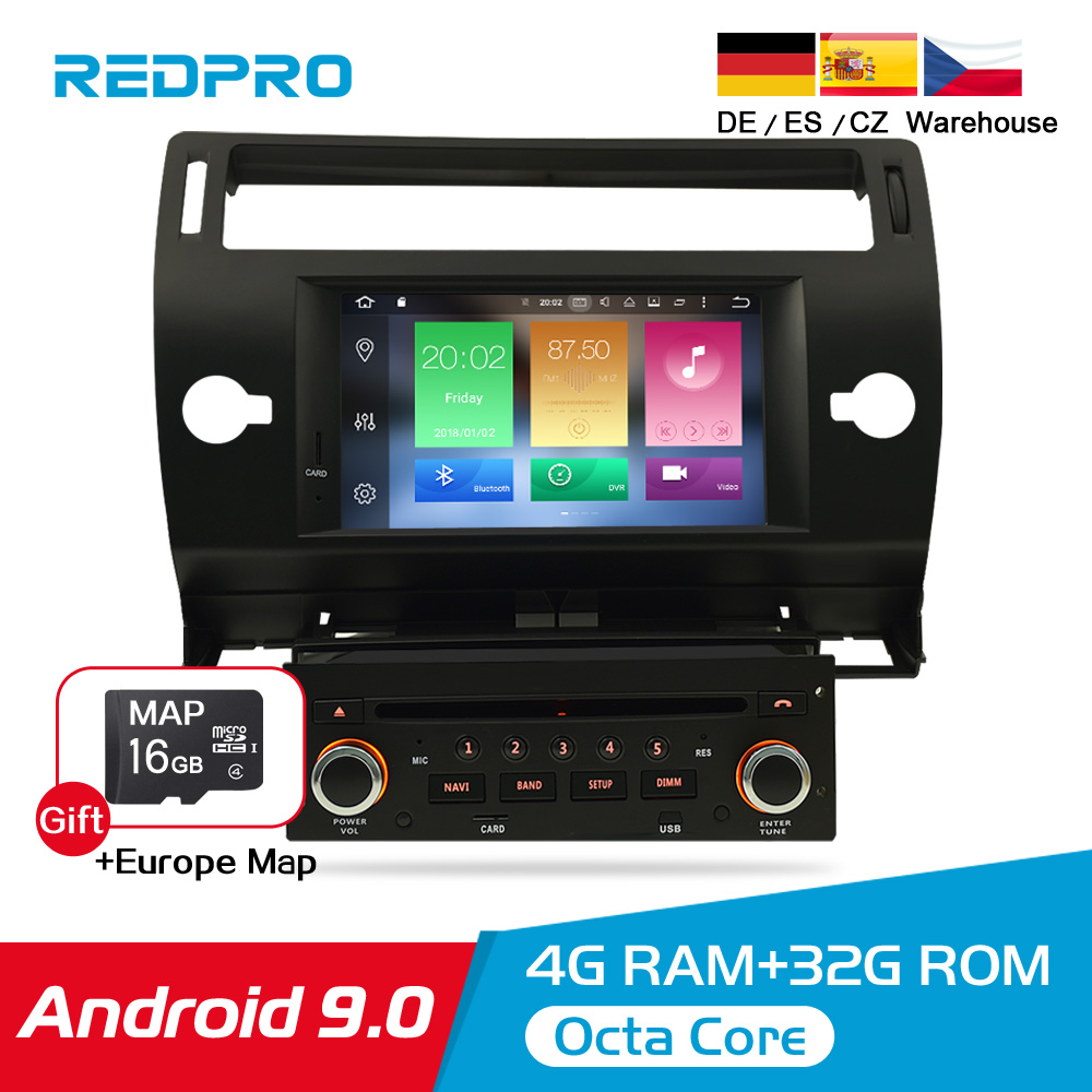 Android 9 0 Touch Screen Car GPS DVD Stereo For Citroen C4 C Triomphe C Quatre 2004 2009 Video Radio WIFI FM Multimedia Player in Car Multimedia Player from Automobiles Motorcycles
