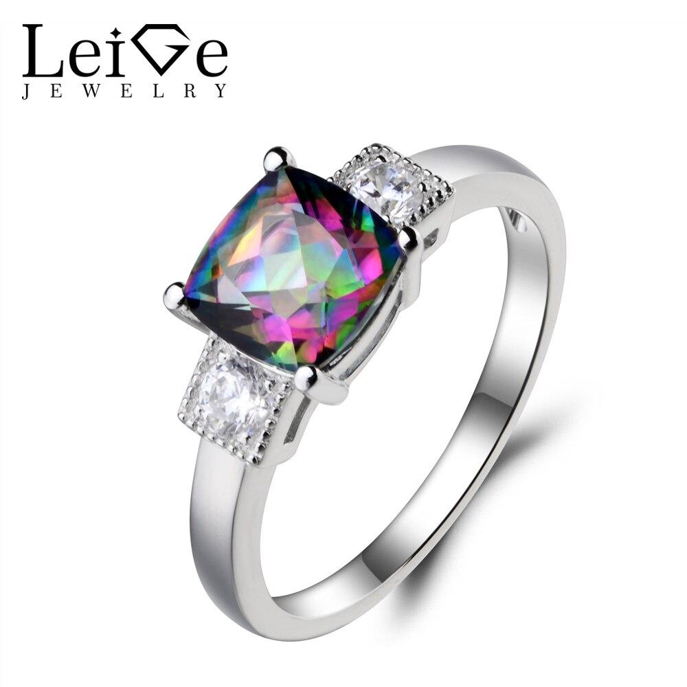 Leige Jewelry November Birthstone Mystic Topaz Ring Cocktail Ring Cushion Cut Rainbow Fire Gemstone Genuine 925