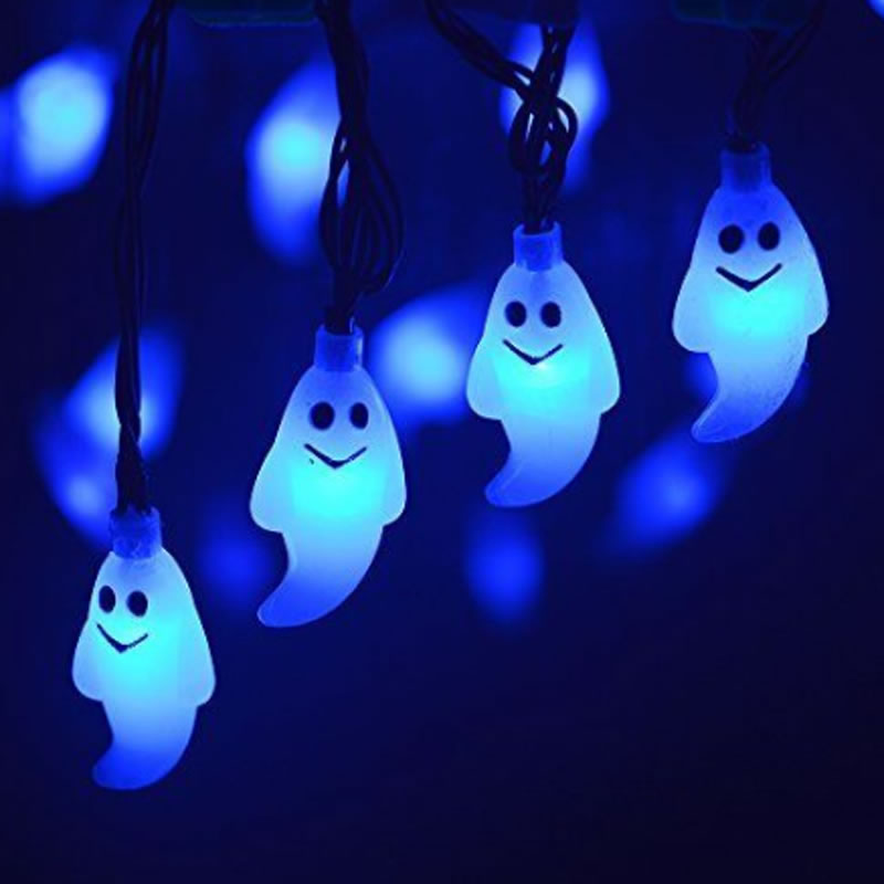 Halloween String Lights 30 Led Ghost Solar Powered String Waterproof Outdoor Halloween Decorations For Garden Patio Yard 2 5m 10leds ghost led string lights halloween decoration