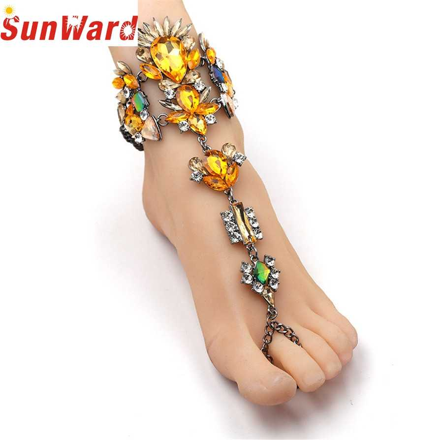 Bracelets sur les pieds 4 Bracelets de cheville de couleur 2020 strass cristal chaud gemme fleur pendentif cheville pieds nus sandale pied bijoux Pesca