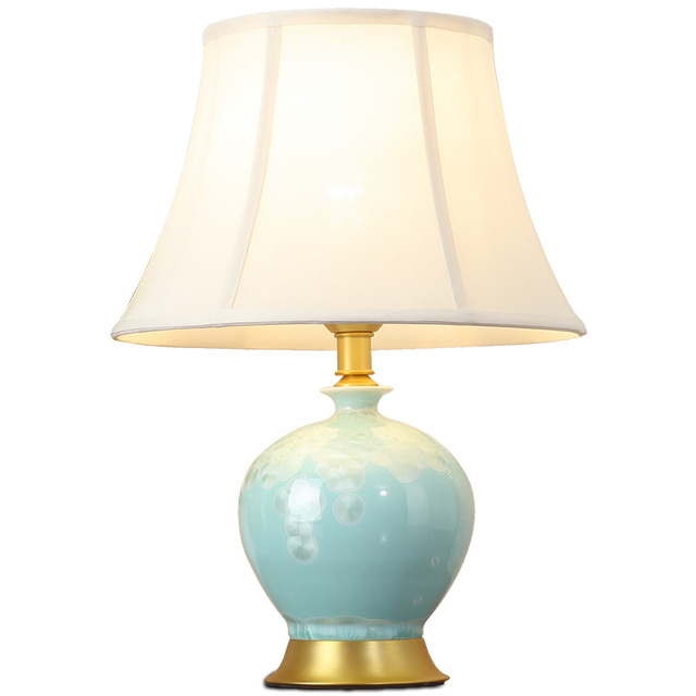 American Ceramic Table Lamp Warm Bedroom Bedside Counter Lamp Living