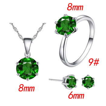 Fashion Silver Color Cubic Zircon Jewelry Sets Hot Promotions Jewelry Jewelry Sets Women Jewelry Metal Color: green Ring Size: 9