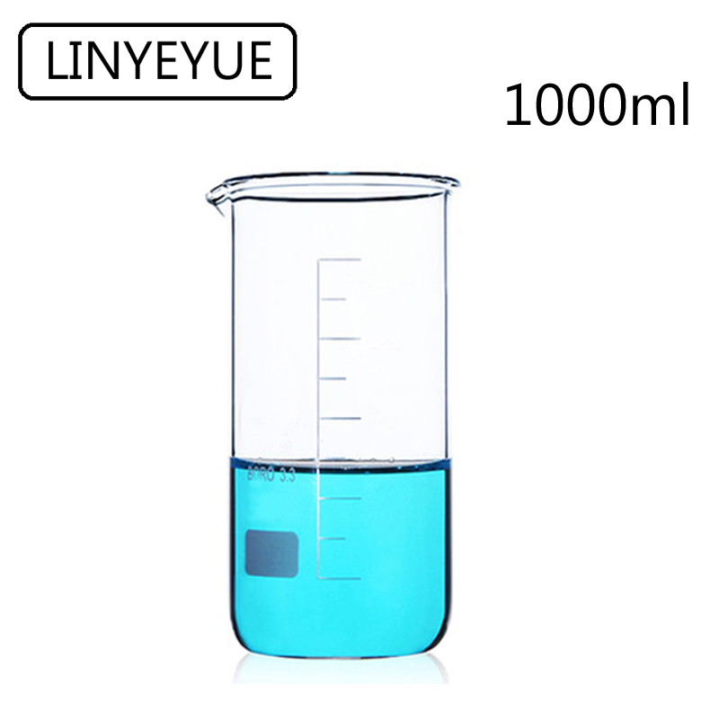 LINYEYUE 1000mL Glass Beaker Tall Form Borosilicate Glass High Temperature Resistance Measuring Cup Beaker Laboratory Equipment