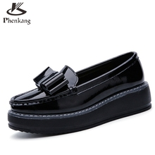 2017 Patent leather Casual Bow Muffin bottom women shoes slip on white black Vintage oxford shoes for women US size 8