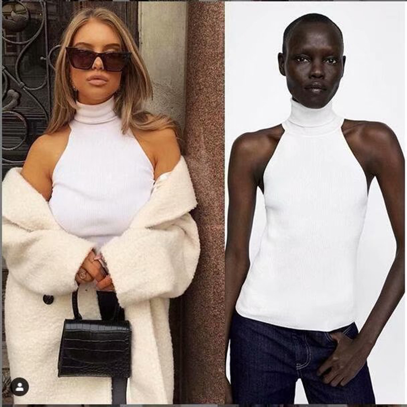 Women Slim Knitted Turtleneck Basic Tank Tops Female Knitted Camis Sleeveless Solid White Sweater Pullovers