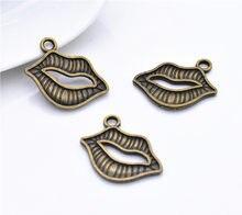 23*19mm 12 pçs bronze antigo chapeado lábios charme pingente para diy colar pulseira jóias acessórios