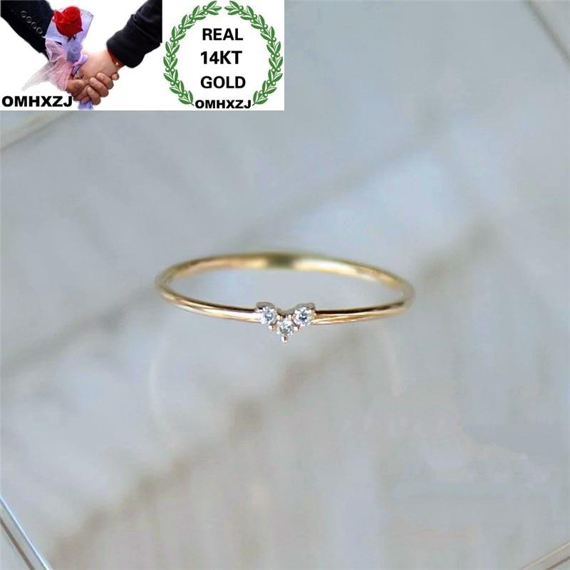 OMHXZJ Wholesale European Fashion Hot Woman Girl Party Birthday Wedding Gift Simple Slim Heart AAA Zircon 14KT Gold Ring RR1003
