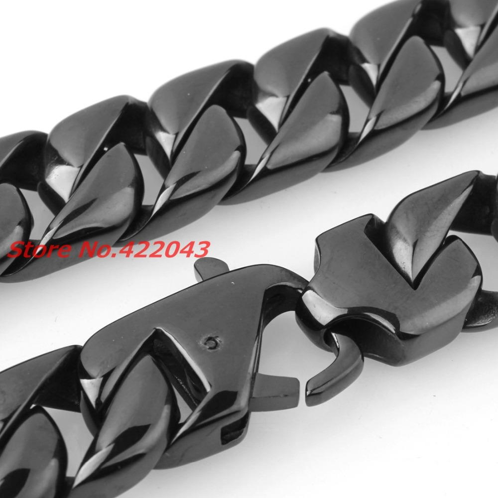 24 15MM Heavy Cool Black Color 316L Stainless Steel Mens Curb Cuban Chain Necklace, Fashion Jewelry For Mens Boys 203g Chain24 15MM Heavy Cool Black Color 316L Stainless Steel Mens Curb Cuban Chain Necklace, Fashion Jewelry For Mens Boys 203g Chain