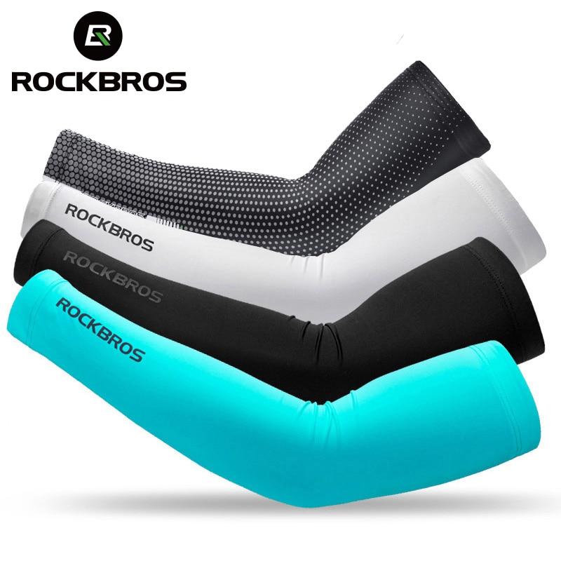 ROCKBROS Eis Gewebe Atmungsaktiv UV Schutz Arm Ärmeln Fitness Basketball Ellenbogen Pad Sport Radfahren Im Freien Arm Wärmer