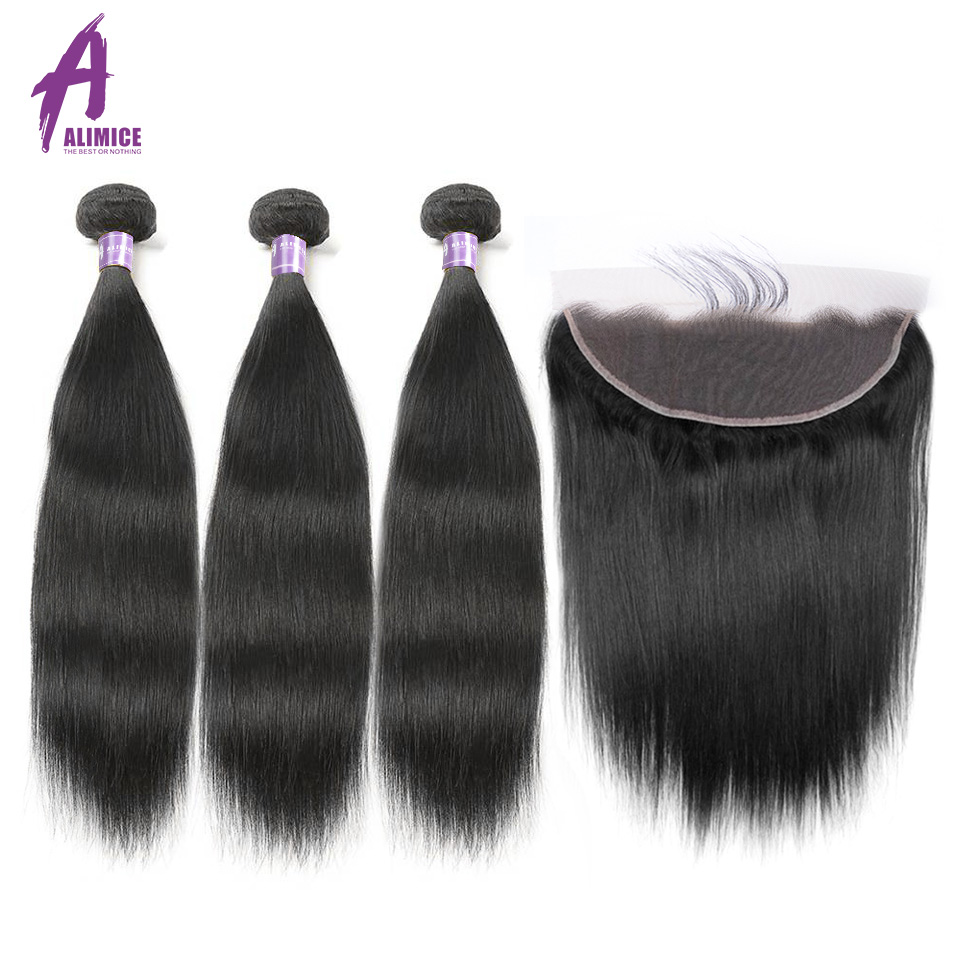 Brazilian Straight Human Hair Weave 3 Bundles Hair Weft Med Free One - Menneskehår (sort)
