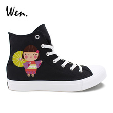 Wen Black Classic Men Canvas Shoes Design Japanese Kimono Dolls High Top White Women Casual Sneakers Adult Girl Flats Shoes