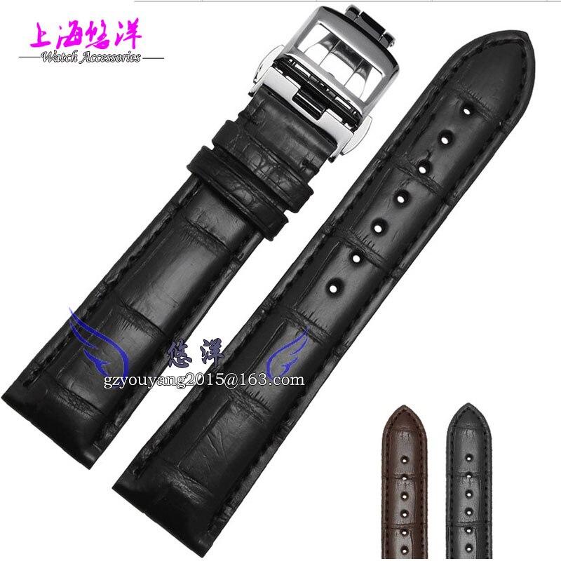 Bracelet en cuir Alligator s'applique au bracelet à boucle pliable original master mâle 20   21mm