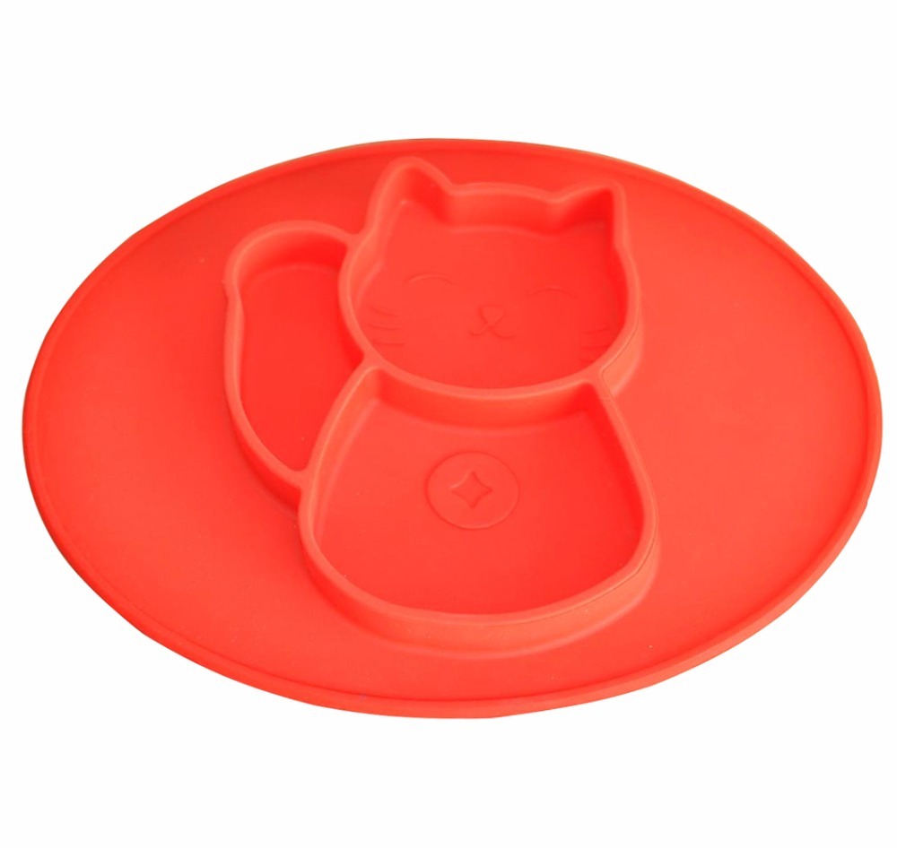 Children Silicone Placemat Heat Resistant Mat Coaster Kids Cat Shaped Table Mat Set Free Shipping