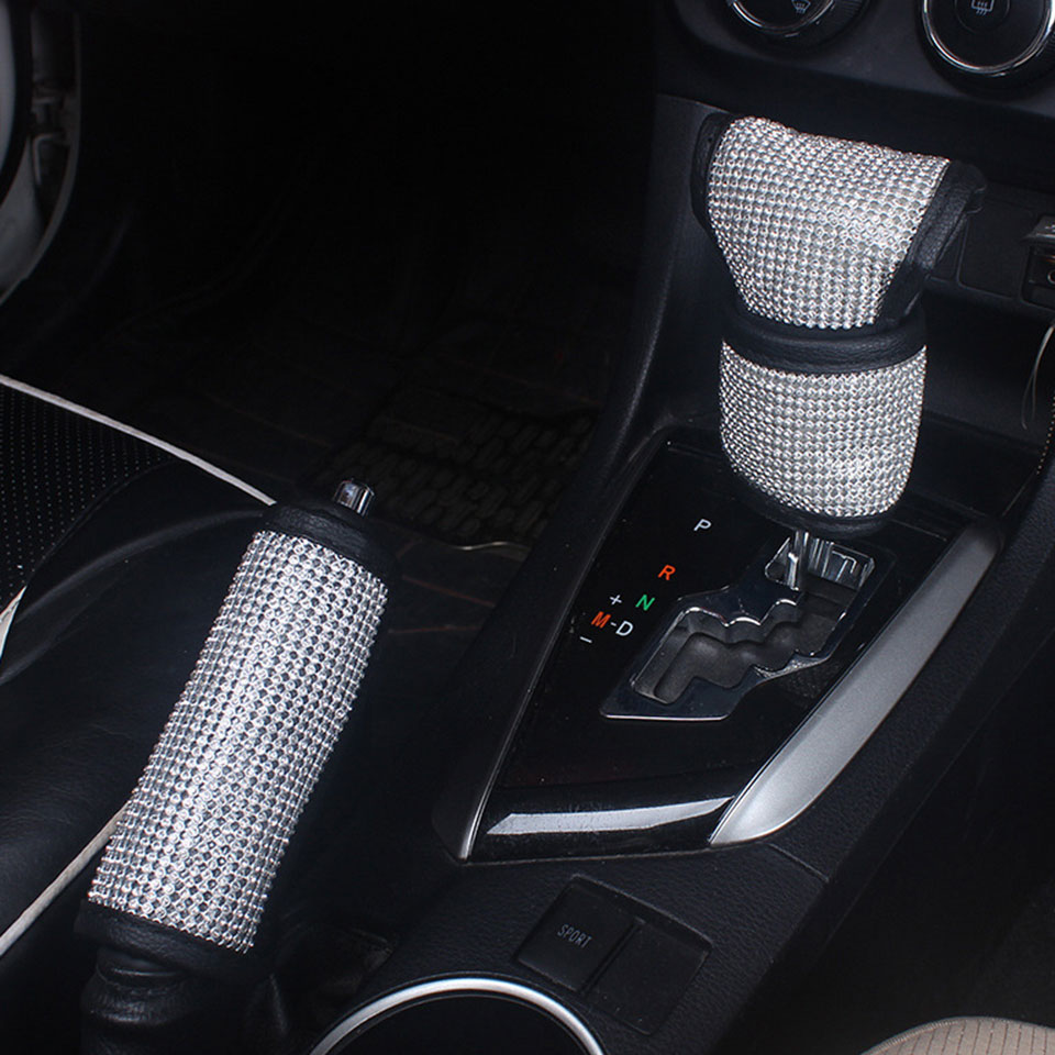 Fashion Auto Shifter Hand Brake Covers Full Diamond Rhinestone Car Gear Shift Cover Hand Brake Cover Car Interior Accessories