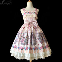 Flower Spirit ~ Sweet Lolita Printed Dress Sleeveless Midi Party Dress Vestidos De Fiesta by Infanta