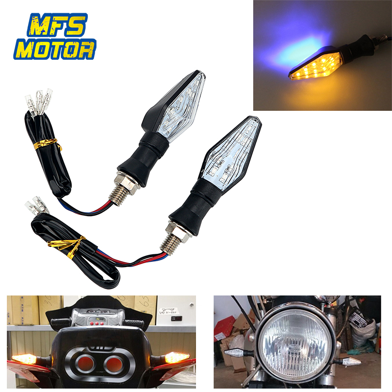 2x Pair Universal Motorcycle LED Turn Signal Light High 12 Led Indicator Light Dual Color Blue&Amber Blinker License Plate Lamp