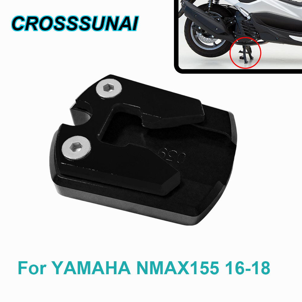 CNC Motorcycle Sidestand Pad Plate Kickstand Enlarger Support Extension Pad Moto Accessories For YAMAHA NMAX155 2016 2017 2018 image