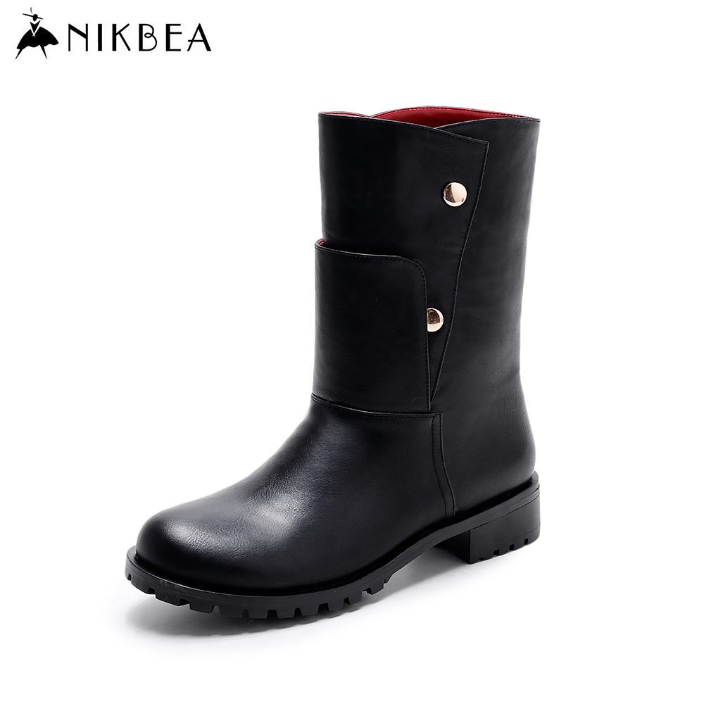 Nikbea Flat Boots Riding Chunky Low Heel Punk Boots 2016 Winter Boots Mid Calf Autumn Shoes Fashion Bota Feminina Ladies Booties nikbea vintage western boots cowboy ankle boots for women pointed toe boots winter 2016 autumn shoes pu chunky low heel booties