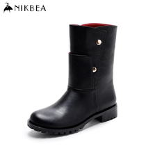 Nikbea Flat Boots Riding Chunky Low Heel Punk Boots 2016 Winter Boots Mid Calf Autumn Shoes Fashion Bota Feminina Ladies Booties