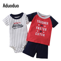 2016 Baby Rompers Boys Girls Costume 3pcs Short Sleeve Clothes Bebes Kid Summer Jumpsuit Baby Clothing