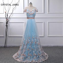 CRYSTAL JIANG Gorgeous A Line Evening Dress 2019 Sweetheart Off the Shoulder Butterfly Lace Applique Formal Long Gown