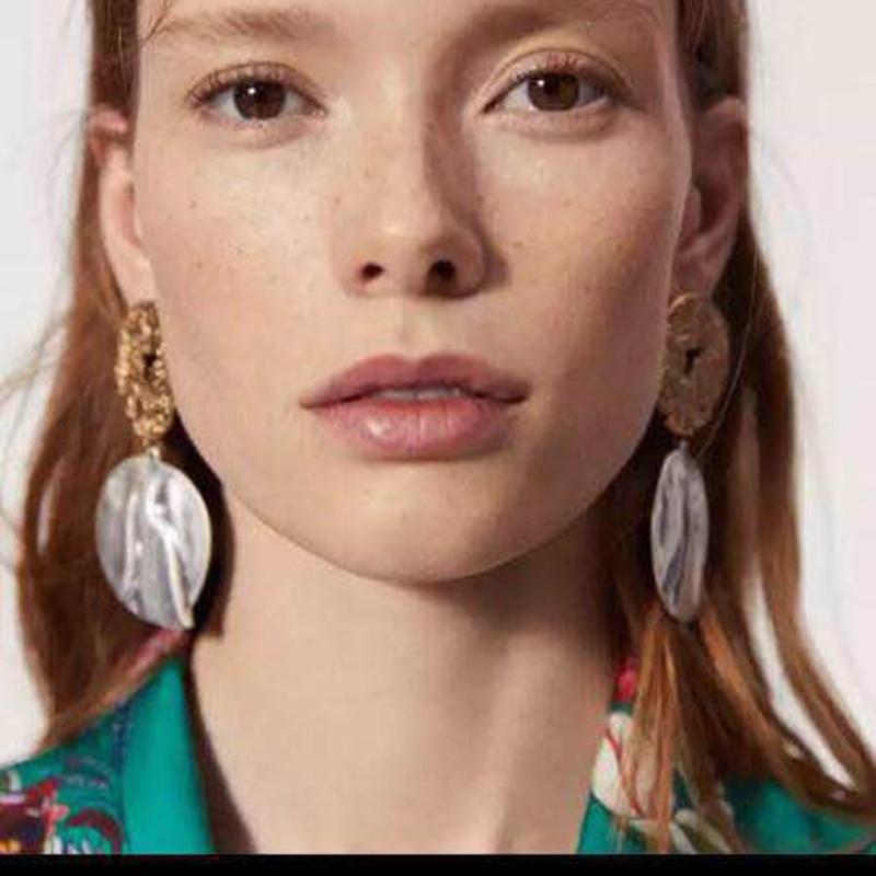 Bestessy Punk Style Shiny Metal Drop Earrings For Women Maxi Fashion Party Bijoux ZA Charm Statement Jewelry Wholesale