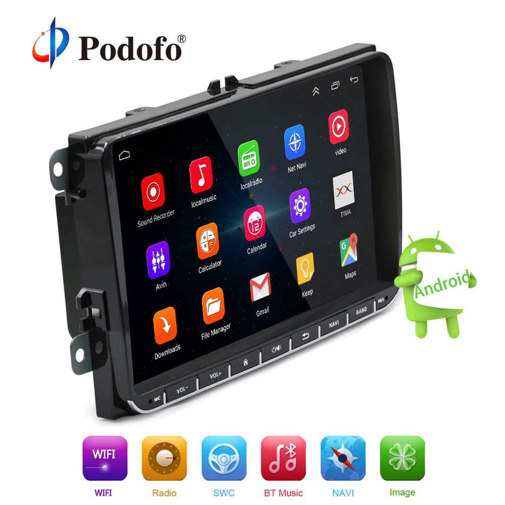 Podofo Android 2 din Voiture Radio Lecteur Multimédia GPS Navigation 9 Auto radio pour VW GOLF MK5 MK6 Jetta t5 EOS POLO Touran Siège