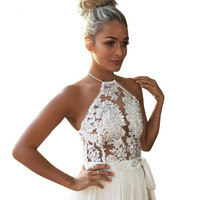 2016 New Women Sexy Elegant White Lace Crop Top Summer Beach Backless Short Halter Tops Sexy