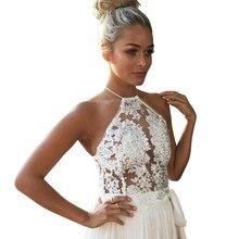 2017 New Women Sexy Elegant white lace crop top Summer beach backless short halter tops Sexy camis gauze metallic women tank top