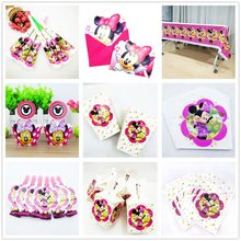 hot deal buy red minnie mouse birthday party supplies flags tablecloth cup plate candy box minie event party decoration disposable tableware