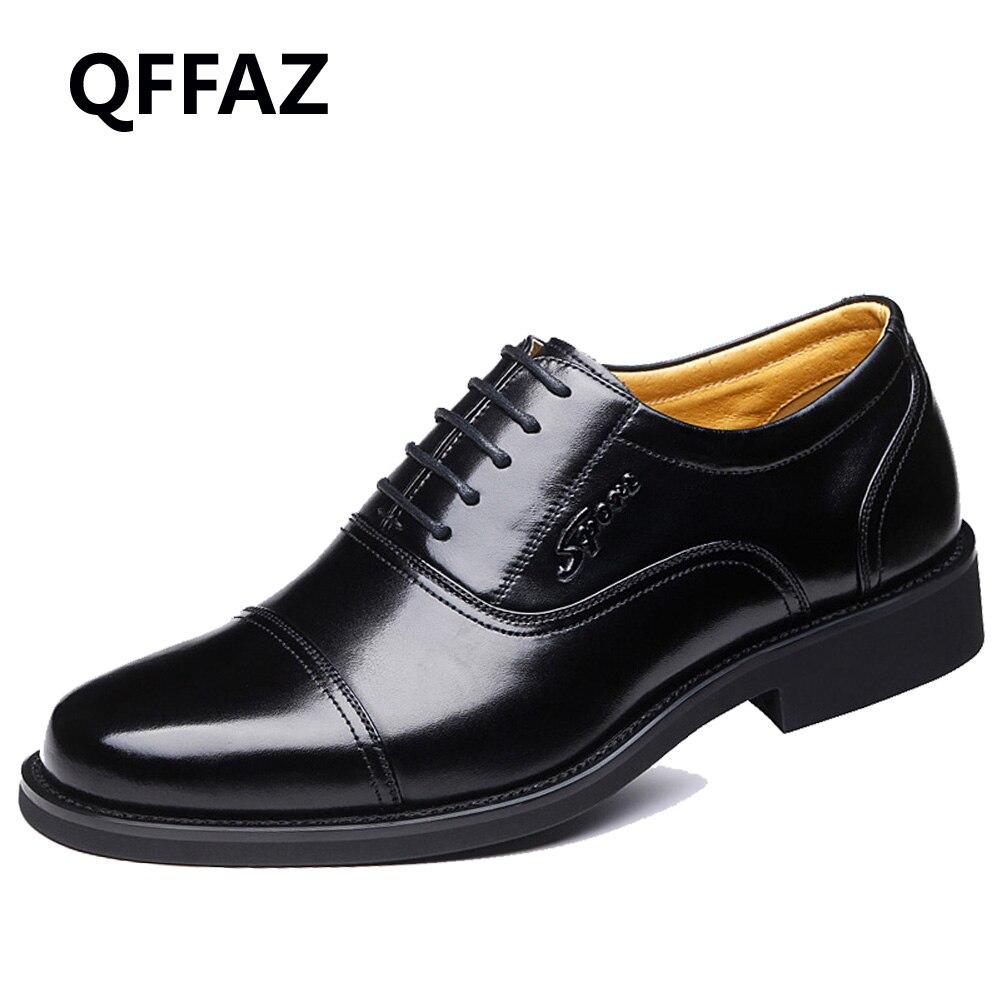 QFFAZ Genuine Leather Mens Dress Shoes High Quality Oxford Shoes For Men Lace Up Business Men