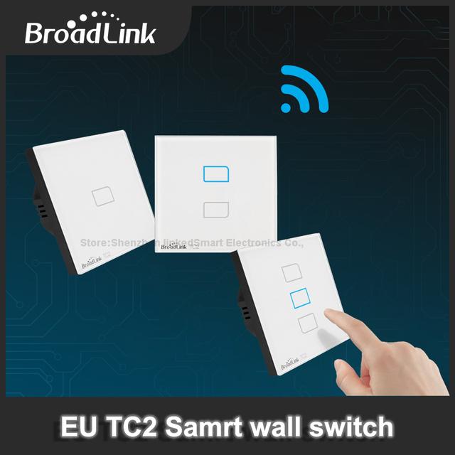 Broadlink tc2 estándar de la ue 1/2/3 bandas, lámparas de luz de pared wifi interruptor remoto a través de móvil broadlink rm2 rm pro, domotica domótica