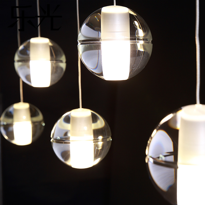 Clear or Air Bubble Meteor Shower Crystal Ball Pendant Lamp , Wire Stair Light,G4 Led Bulb Dining Glass Lighting