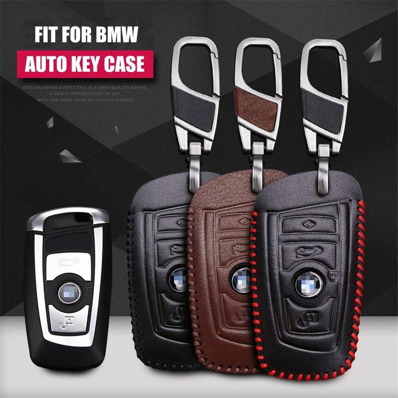 Cow Läderbil Nyckel Pack Cover / Key Case Hållare Shell Keychain - Bil interiör tillbehör