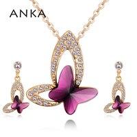 ANKA Nouveau Papillon Cristal Grande Femme Bijoux Femelle Ensemble Or Couleur Collier Boucles D'oreilles Cristaux de Swarovski #130653