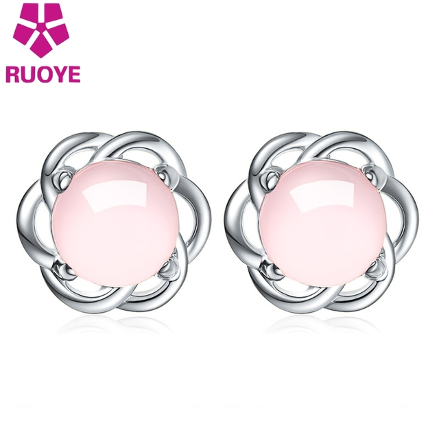 Ruoye Fashion White Pink Opal Stone Stud Earring Flower Design Gold Silver Color For Women