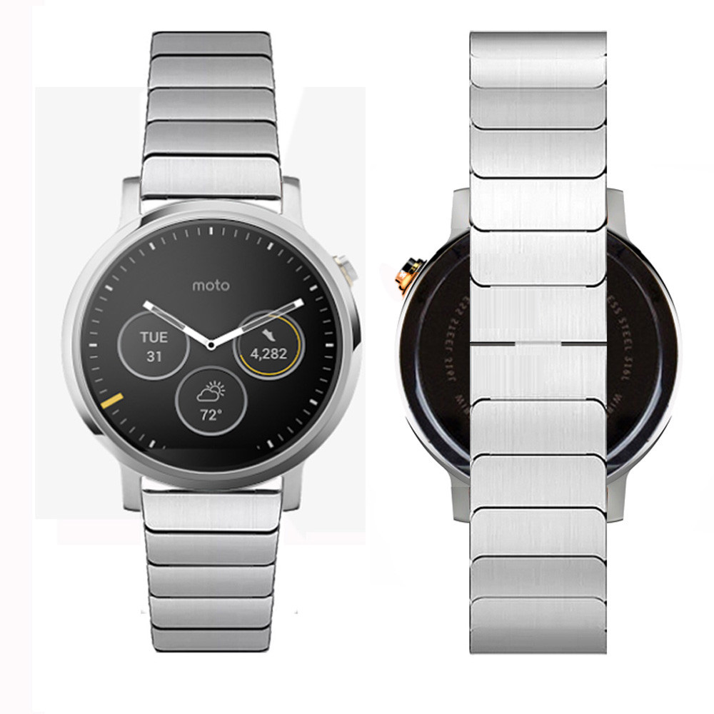 ФОТО High Quality Top Brand Link Bracelet Stainless Steel Band Strap Watchband For Moto 360 2nd 46mm Watchband