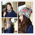 2016 Fashion women autumn winter hats flag Beanies Hip-hop caps lady printed cotton hats 3 use caps knitted scarf n-2