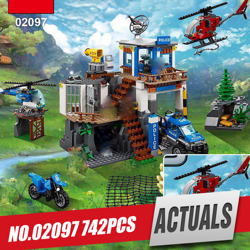 Lepin 02097 New 742Pcs City Series The Mountain Police Headquater Set 60174 Building Blocks Bricks Toys Model  For Kids As Gifts 02020 lepin new city series the new police station set children educational model building blocks bricks diy toys kid gift 60141