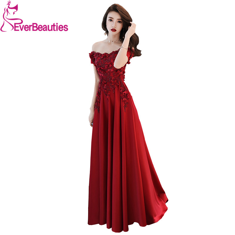 Sexy   Evening     Dresses   Long Boat Neck Satin Appliques Beading Elegant   Evening   Gowns Party Gowns Robe De Soiree