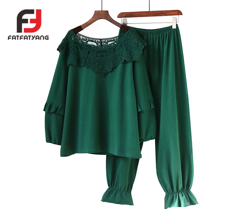 Korea Style 2018 Spring Autumn New Milan Cashmere Home Wear Female Lace Long Sleeve Suit Pajamas for Women