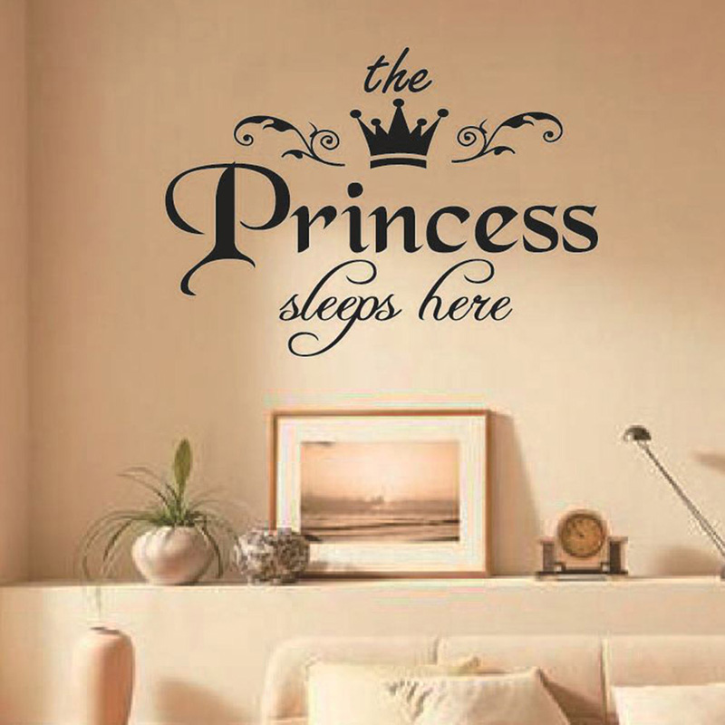 The Princess Sleeps Here Wall Sticker For Girls Room Baby Girl Bedroom Background Home Decoration Stickers Art Decals Wallpaper