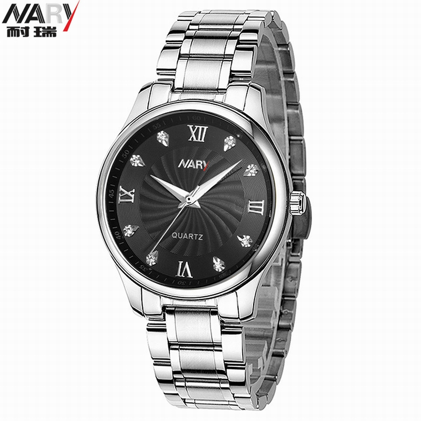 Women And Men Quartz Stainless Steel Watches Rhinestones Couple Wrist Watches Luxury Brand NARY Lovers Watches