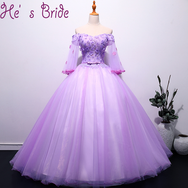 b33e91d1eb Evening Dress Elegant Purple Boat Neck Long Sleeves Lace Up Back Ball Gown  Tulle Lace Flowers Sweet Illsuion Party Prom Dress