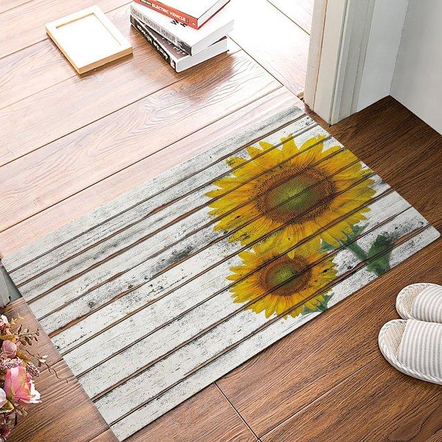 Door Mat Rug Indoor/Front/Bathroom Door Entrance Mats Sunflower On A Wooden  Board