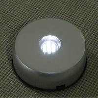 3D Night Light Lamp Bases 10 5x4cm Battery Power 7 LED White Light Unique Rotating Crystal