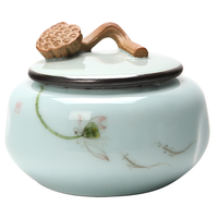 Jingdezhen Handpainted Lotus Ceramic Tea Jar Tea Caddy Canister Portable Travel Storage Bottles Sealed Tank Jar Food Candy Jar
