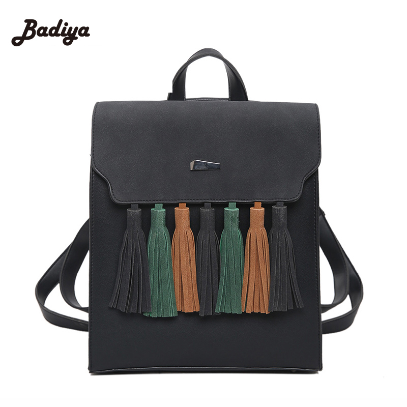New Women Tassel Backpacks School Bag for Teenager Mochila Shoulder Laptop Satchels Backpack Travel Package Femme